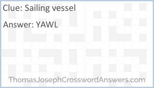 Sailing vessel Answer
