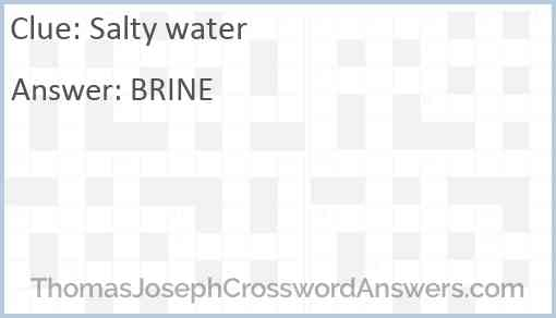 Salty water Answer