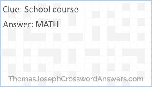 School course Answer