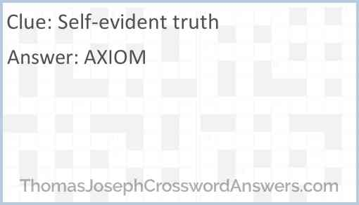 Self-evident truth Answer