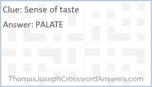 Sense of taste Answer