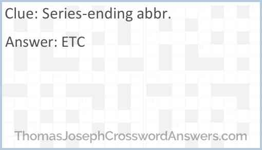 Series-ending abbr. Answer