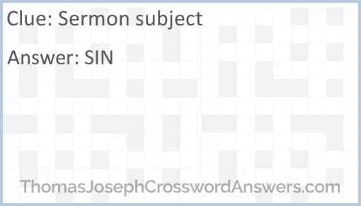 Sermon subject Answer