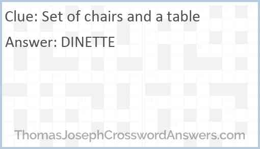 Set of chairs and a table Answer