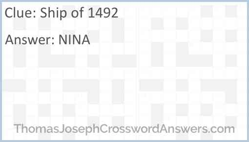 Ship of 1492 Answer