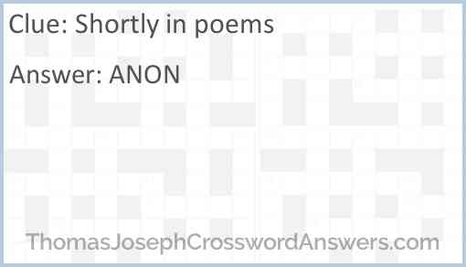 Shortly in poems Answer