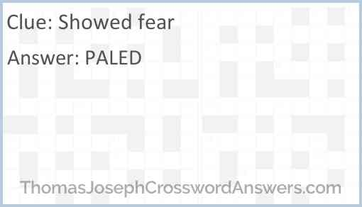 Showed fear Answer