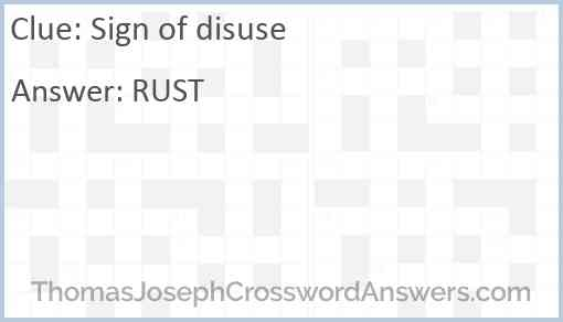Sign of disuse Answer