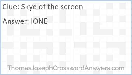 Skye of the screen Answer