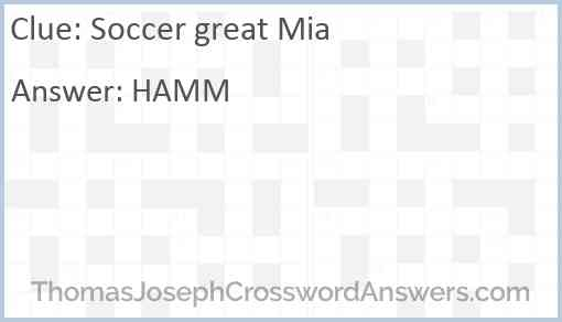 Soccer great Mia Answer