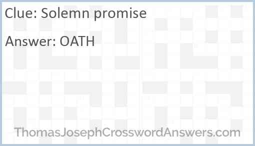 Solemn promise Answer
