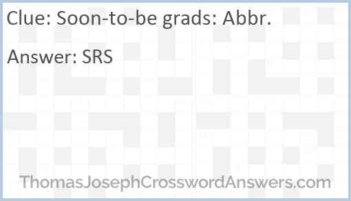 Soon-to-be grads: Abbr. Answer