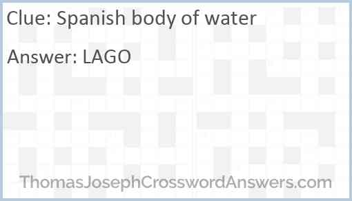 Spanish body of water Answer