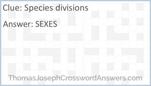 Species divisions Answer
