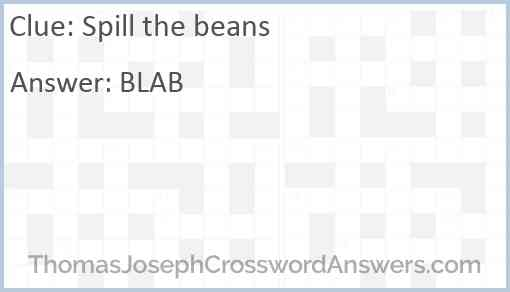 Spill the beans Answer