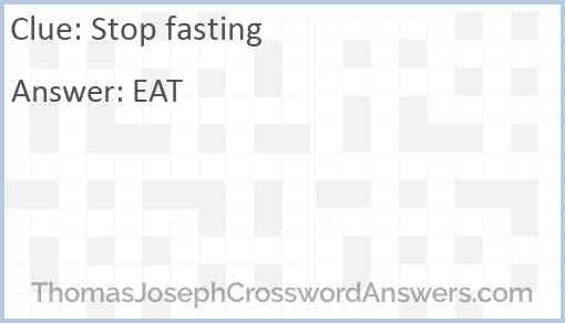 Stop fasting Answer