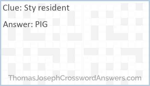 Sty resident Answer