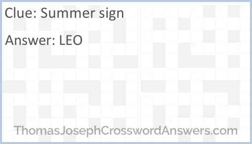 Summer sign Answer