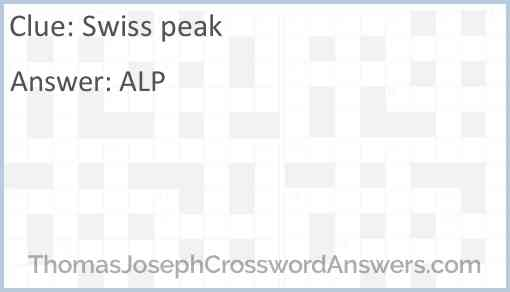 Swiss peak Answer