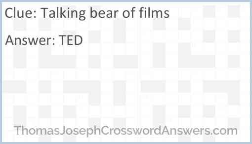 Talking bear of films Answer