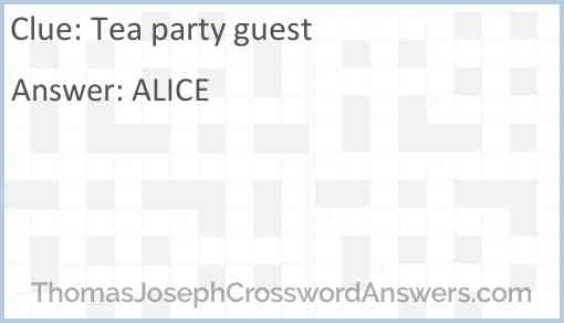 Tea party guest Answer