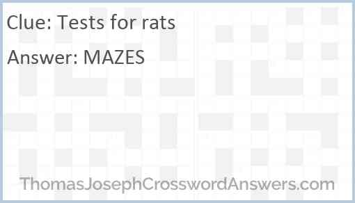 Tests for rats Answer