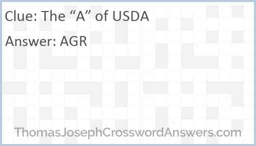 """The """"A"""" of USDA Answer"""