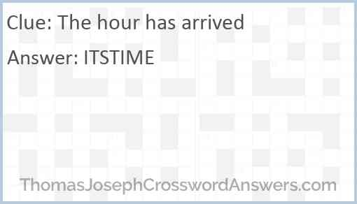 The hour has arrived Answer