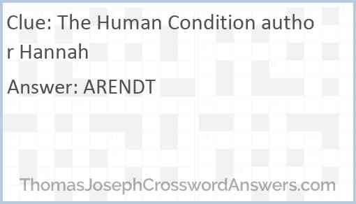 The Human Condition author Hannah Answer