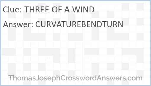 THREE OF A WIND Answer
