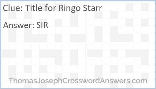 Title for Ringo Starr Answer