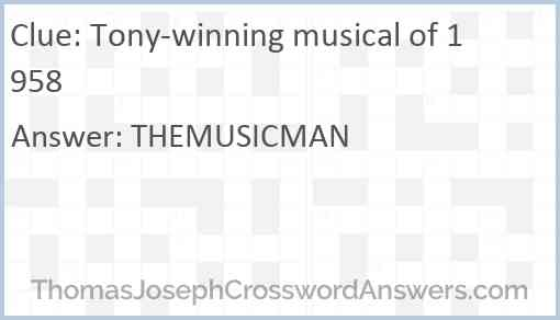 Tony-winning musical of 1958 Answer