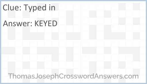 Typed in Answer