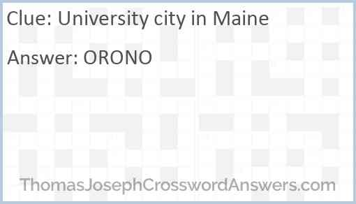 University city in Maine Answer