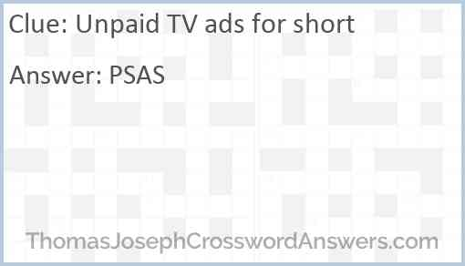 Unpaid TV ads for short Answer