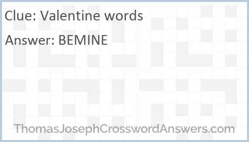 Valentine words Answer