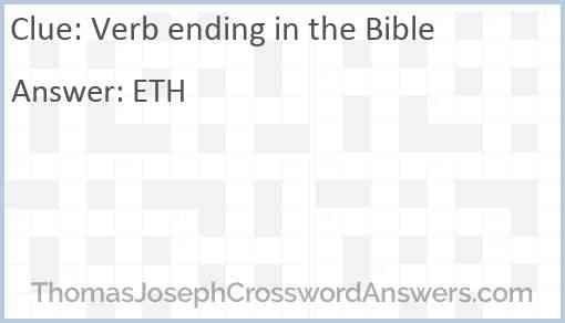 Verb ending in the Bible Answer