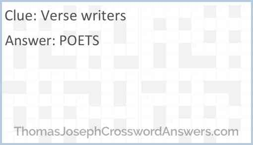 Verse writers Answer