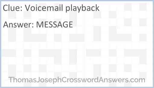 Voicemail playback Answer