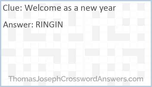 Welcome as a new year Answer