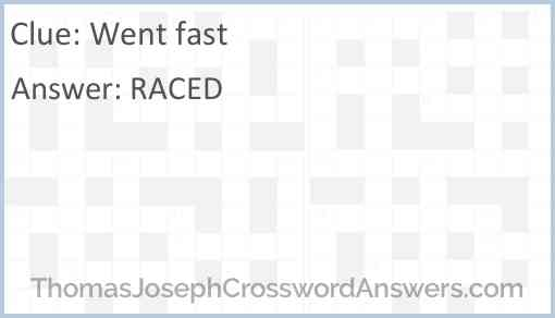 Went fast Answer