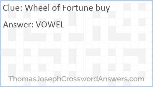Wheel of Fortune buy Answer
