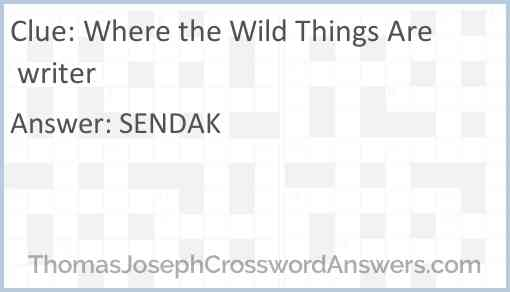 Where the Wild Things Are writer Answer