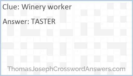 Winery worker Answer