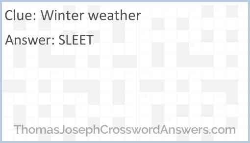 Winter weather Answer