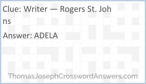 Writer — Rogers St. Johns Answer