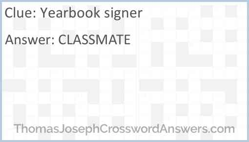 Yearbook signer Answer